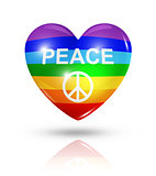 Love peace, heart flag icon