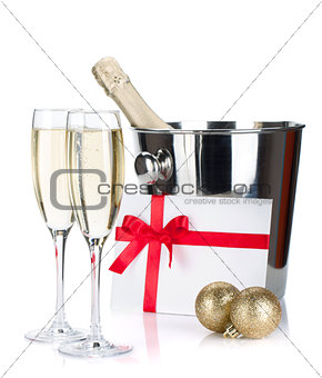 Champagne, letter and christmas baubles
