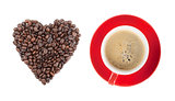 Red coffee cup and heart shape
