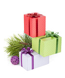 Colorful christmas gift boxes