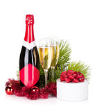 Champagne, christmas decor and gift