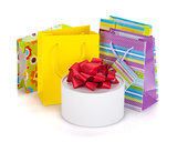 Colored gift bags and box