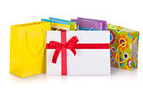 Colored gift bags, box and letter
