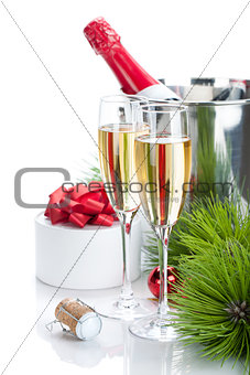 Champagne and christmas gift