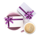 Violet coffee cup, gift box and love letter