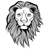 Lion head vector animal illustration for t-shirt. Sketch tattoo design.