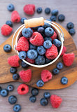 Fresh blueberries and raspberries in a  bucket