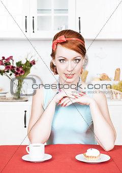 Beautiful woman on the kitchen