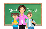 Back to school, School teacher with schoolboy and schoolgirl. Vector illustration