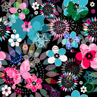 Seamless floral dark pattern