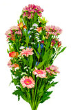 Assorted bouquet of flowers on a white background