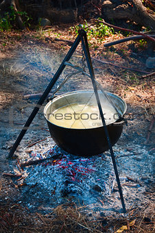 Tourist kettle above a fire
