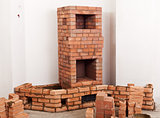 Partially built masonry heater
