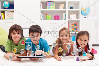 Happy kids connecting to social networks