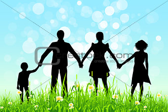 Green Grass and Blue Sky with Family Silhouettes