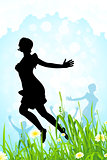 Nature Background with Girl Silhouette in Jump