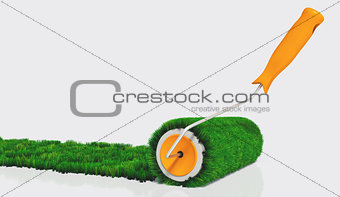 paint with a grassy paint roller