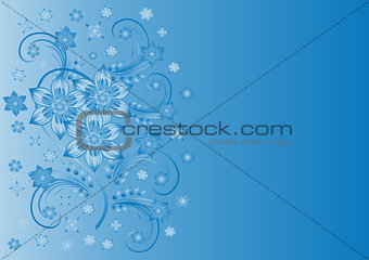 Abstract blue flowers with background