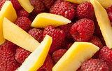 raspberries with peach