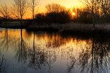 Stunning countryside landscape vibrant Winter sunrise