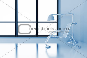 modern room with chair and lamp and light from a window
