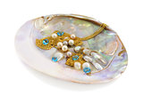 Blue topaz with pearls and gold
