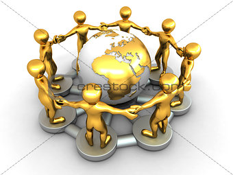 Group of people around of earth