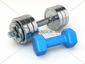 Fitness concept.Dumbbell weights