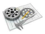 Engineering drawing. Gear, trammel, pencil and draft.
