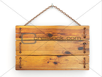 Old wood signboard on chain.
