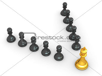 king and pawns. Leadership