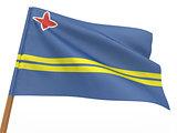 flag fluttering in the wind. Aruba