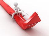 Men on arrow. Conceptual image of success