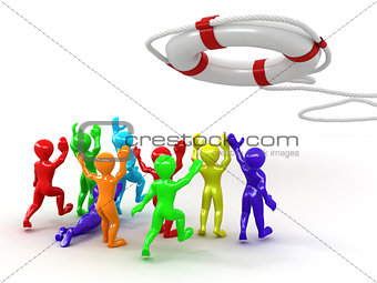 Group of people and lifebouy