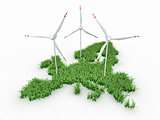 Wind power generators on the map of Europe