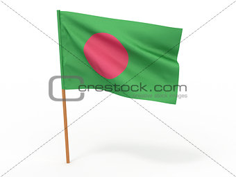 flag fluttering in the wind. Bangladesh