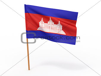 flag fluttering in the wind. Cambodia