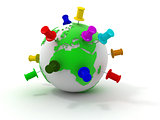 Earth with thumbtacks