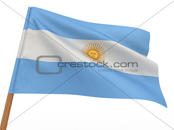 flag fluttering in the wind. Argentina