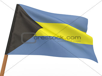 flag fluttering in the wind. Bahamas