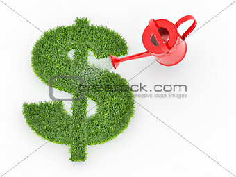 Watering lawns in the form of sign dollar