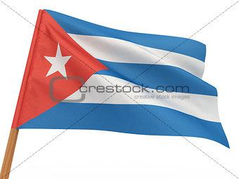 flag fluttering in the wind. Cuba