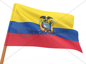 flag fluttering in the wind. Equador