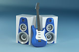 Guitar and louspeakers on blue background