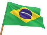 flag fluttering in the wind. Brazil