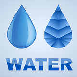Vector illustration of blue water drop and abstract drop