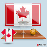 Basketball backboard, basket, court,  ball and t-shirt in the colors of the flag of Canada