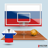 Basketball backboard, basket, court,  ball and t-shirt in the colors of the flag of Russia