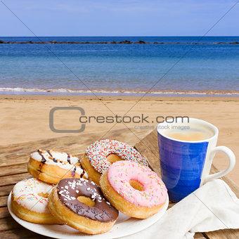 breakfast served in seaside cafe