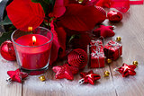 christmas  red  candle with decorations